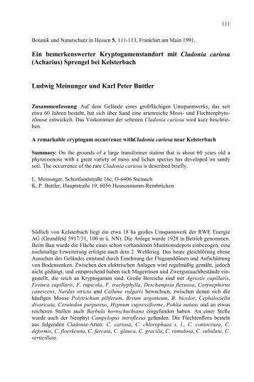 Botanik und Naturschutz in Hessen 5, 5-32, Frankfurt ... - Kp-buttler.de