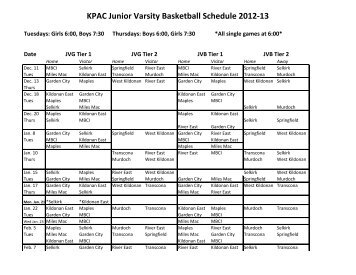 KPAC Junior Varsity Basketball Schedule 2012-13