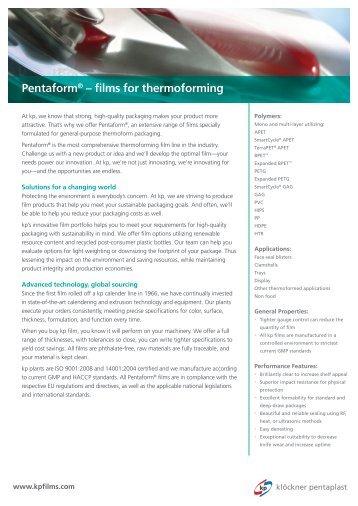 Pentaform® Sales Sheet - Klöckner Pentaplast