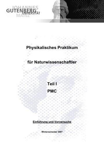 Physikalisches Praktikum für Naturwissenschaftler Teil I PMC