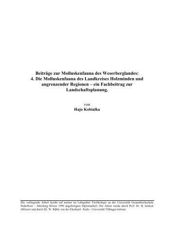 Beiträge zur Molluskenfauna des ... - Agentur Umwelt