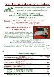 "Neu: Liederbuch ""Lobpreis"" mit Anhang - KPHE"