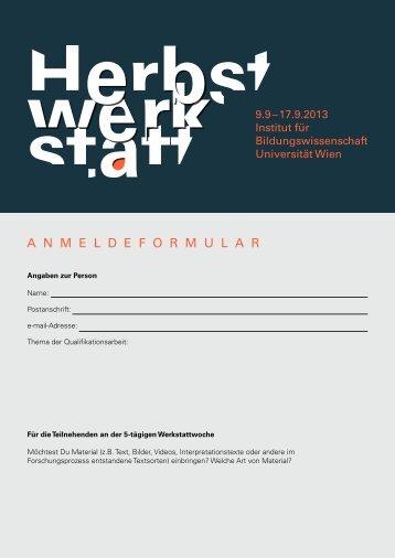anmeldeformular - Institut für Bildungswissenschaft - Universität Wien