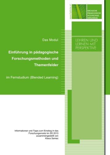 Einführung in pädagogische Forschungsmethoden und Themenfelder