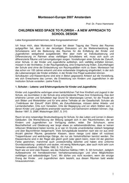 A NEW APPROACH TO SCHOOL DESIGN - Montessori Europe