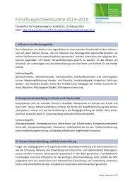 Schwerpunkte der Studienjahre 2013-2015