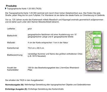 Produkte Seite 1 von 1 Topographische Karte 1:25 000 (TK25)