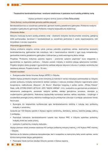 Tarptautinis bendradarbiavimas - Kvalifikacijų ir profesinio mokymo ...
