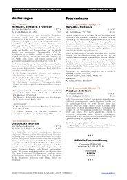 Vorlesungen Proseminare - Institut für Klassische Philologie
