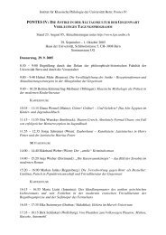 Tagungsprogramm - Institut für Klassische Philologie - Universität Bern