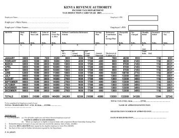 Tax Deduction Card - Kenya Revenue Authority