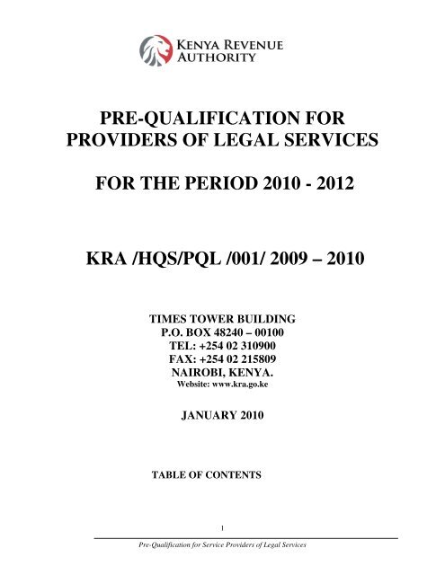 pre-qualification for providers of legal services - Kenya