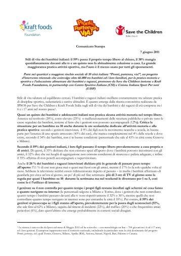 Comunicato Stampa 7 giugno 2011 Stili di vita dei bambini italiani: il ...