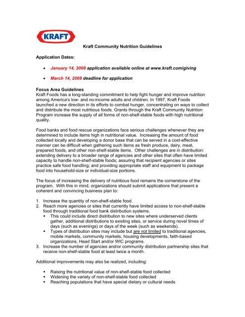 Kraft Community Nutrition Program Application Instructions