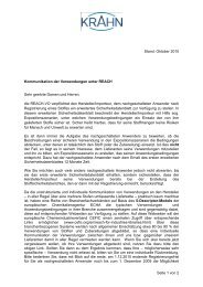 Oktober 2010 Kommunikation der Verwendungen unter REACH ...