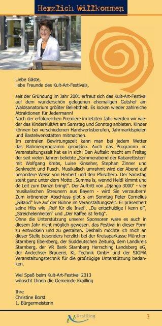 12. KRAILLINGER KULT-ART-FESTIVAL - Gemeinde Krailling