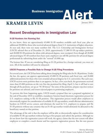 Recent Developments in Immigration Law - Kramer Levin Naftalis ...