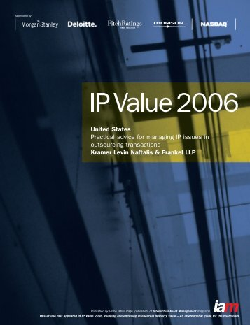 Practical Advice for Managing IP Issues in Outsourcing Transactions