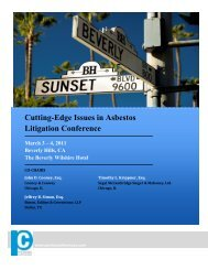 Cutting-Edge Issues in Asbestos Litigation Conference A National ...