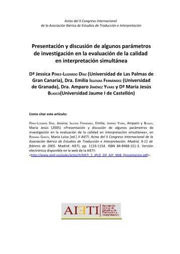 Presentación y discusión de algunos parámetros de ... - AIETI
