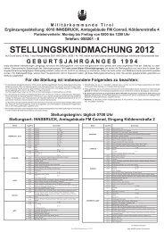 Stellungskundmachung Militärkommando Tirol - Gemeinde Kramsach