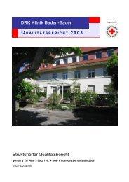 Strukturierter Qualitätsbericht DRK Klinik Baden-Baden - Kliniken.de