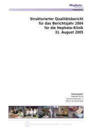 Strukturierter Qualitätsbericht für das Berichtsjahr 2004 ... - Kliniken.de