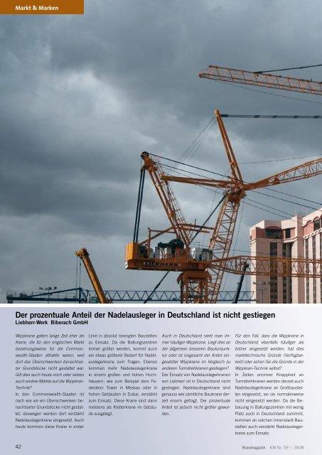 Der prozentuale Anteil der Nadelausleger in ... - Kranmagazin.de