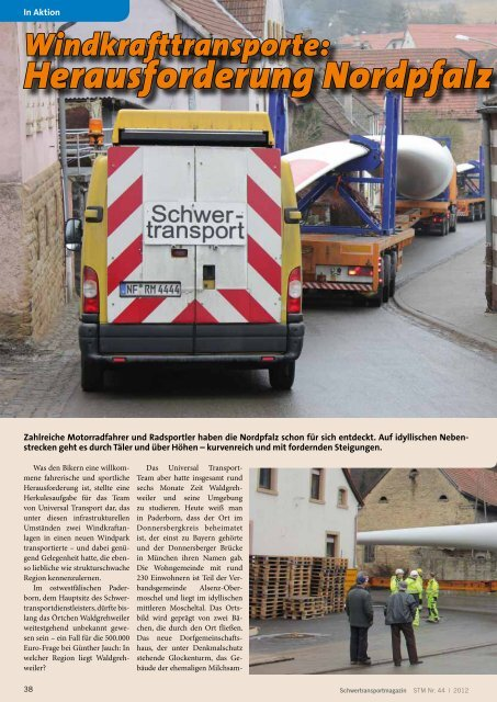 Windkrafttransporte: Herausforderung Nordpfalz - KRANMAGAZIN
