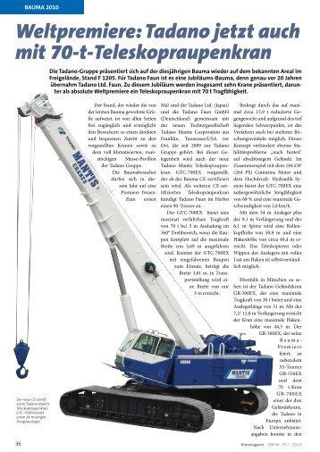 Tadano jetzt auch mit 70-t-Teleskopraupenkran - KRANMAGAZIN