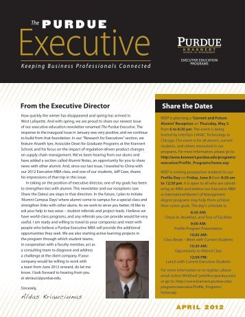 April 2012 - Krannert School of Management - Purdue University