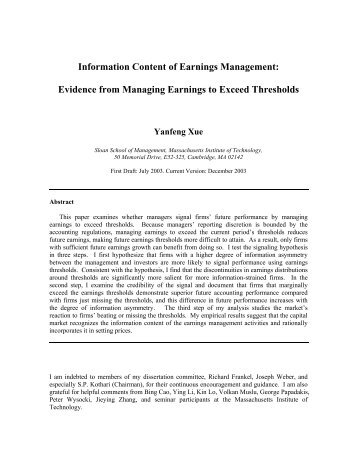 Information Content of Earnings Management: Evidence - Krannert ...