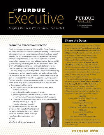 October 2012 - Krannert School of Management - Purdue University