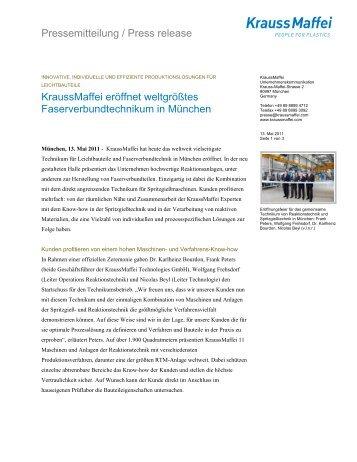 KraussMaffei eröffnet weltgrößtes Faserverbundtechnikum in München