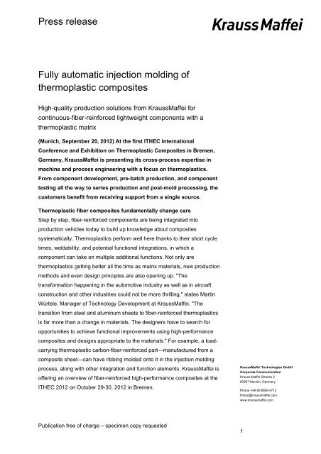 PR pdf: Fully automatic injection molding of     - KraussMaffei