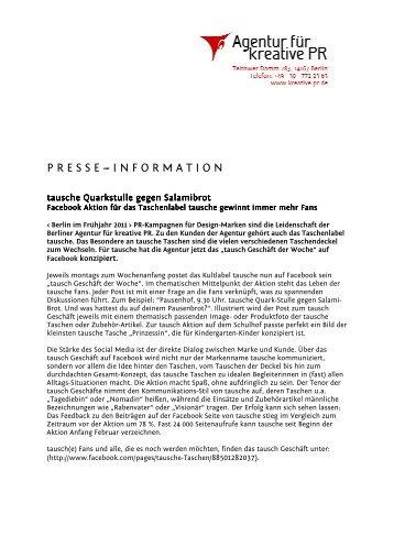 tausche Quarkstulle gegen Salamibrot - Agentur für kreative PR