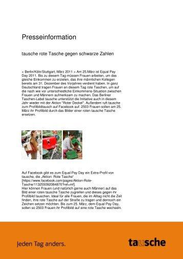 tausche unterstützt den Equal Pay Day mit der Aktion Rote Tasche ...