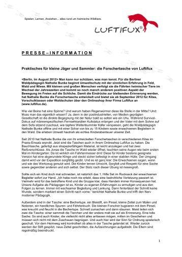 die Forschertasche von Luftifux Pressemitteilung vom August 2012