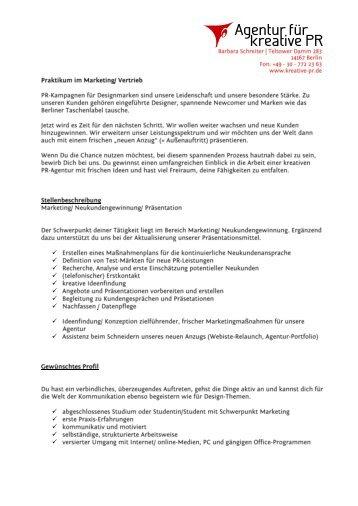 Briefvorlage Form B - Agentur für kreative PR