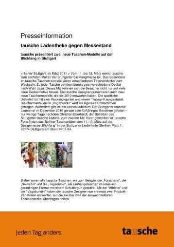 tausche auf der Designmesse Blickfang Stuttgart Pressemitteilung ...