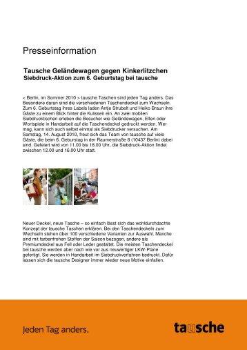 Siebdruck-Aktion zum 6. Geburtstag bei tausche Pressemitteilung ...