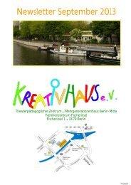 Newsletter September 2013 - KREATIVHAUS Berlin