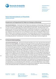 Partnerinformationsdienste zu Krebserkrankungen bei Kindern und ...