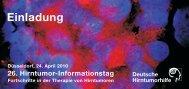 26. Hirntumor-Informationstag für Patienten und ihre Angehörigen