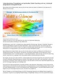 Lebensberatung, Energietipps und spirituelles Gratis-Coaching und neu: individuell aufgeladener Energieschmuck!