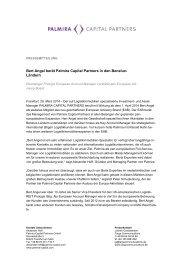 Bert Angel berät Palmira Capital Partners in den Benelux-Ländern