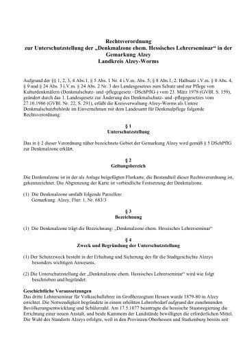 Denkmalzone ehem. Hessisches Lehrerseminar - Landkreis Alzey ...