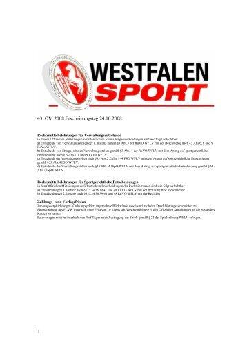 43. OM 2008 Erscheinungstag 24.10.2008 - Kreis Bochum