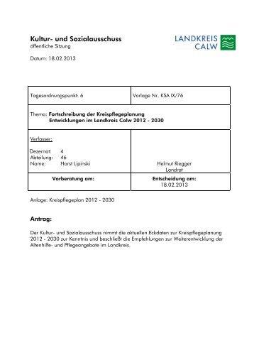 Fortschreibung der Kreispflegeplanung - Landkreis Calw