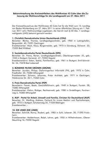 Die 10 Direktkandidaten im Landkreis Calw